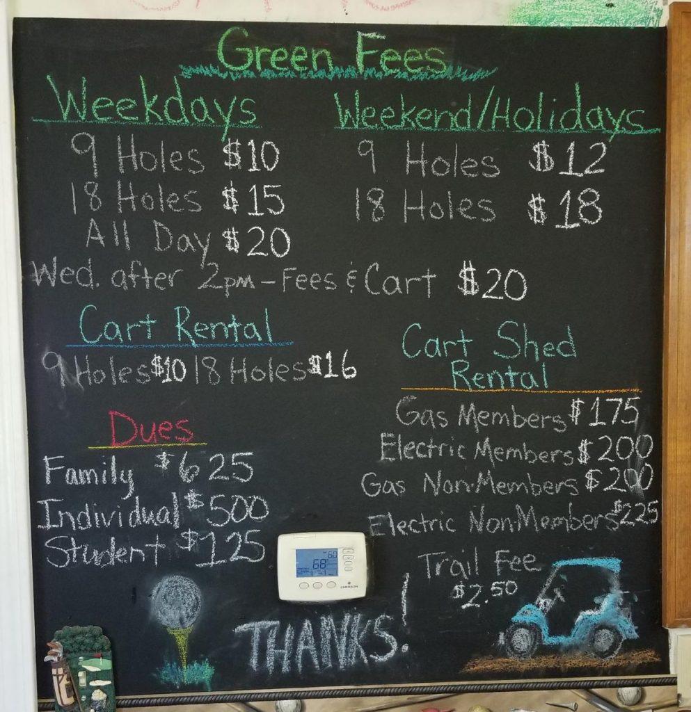 Club House Price Chart